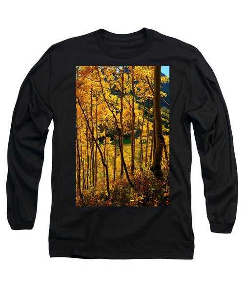 Maroon Lake Gold Long Sleeve T-Shirt by Jeremy Rhoades
