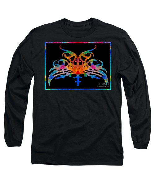 Long Sleeve T-Shirt featuring the digital art Masking Reality Abstract Shapes Artwork by Omaste Witkowski