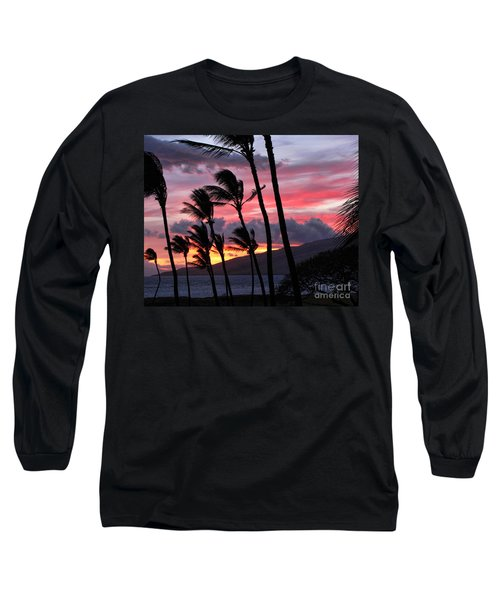 Maui Sunset Long Sleeve T-Shirt by Peggy Hughes