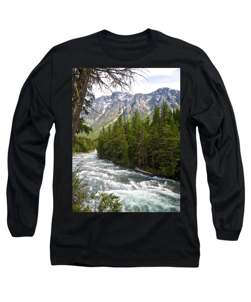 Mcdonald Creek In Glacier Np-mt Long Sleeve T-Shirt by Ruth Hager