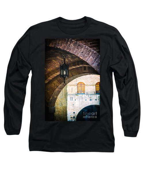 Long Sleeve T-Shirt featuring the photograph Medieval Arches With Lamp by Silvia Ganora