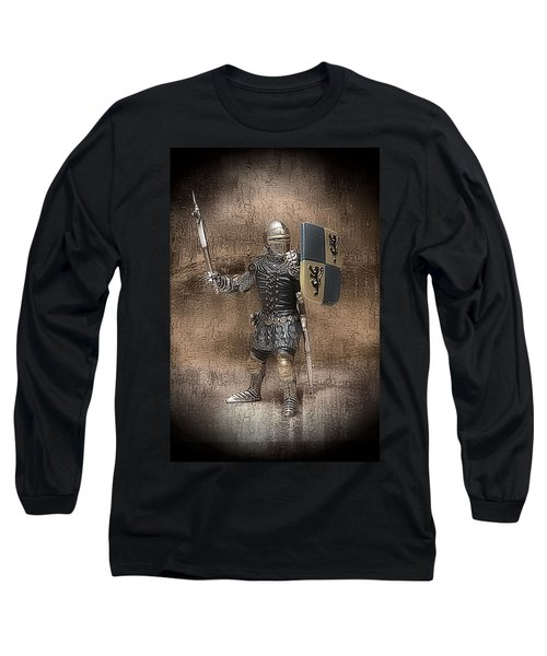 Long Sleeve T-Shirt featuring the mixed media Medieval Knight by Aaron Berg