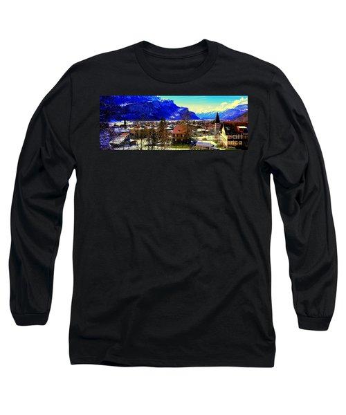 Long Sleeve T-Shirt featuring the photograph Meiringen Switzerland Alpine Village by Tom Jelen