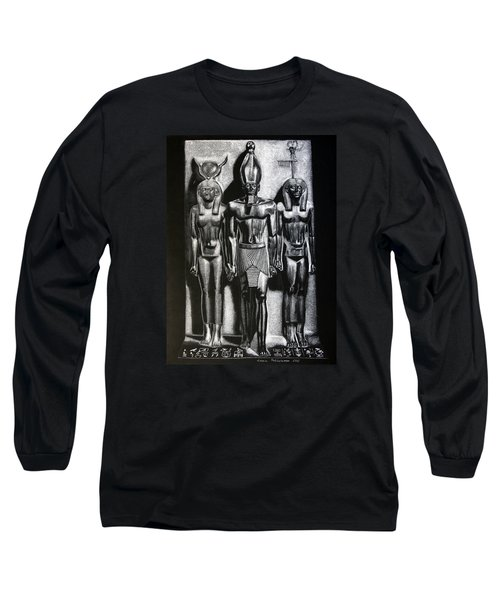 Long Sleeve T-Shirt featuring the painting Menkaure Triad by Leena Pekkalainen