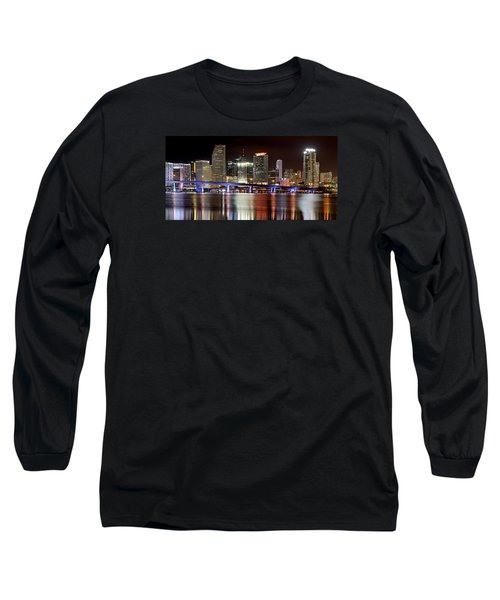 Miami Skyline Long Sleeve T-Shirt by Brendan Reals