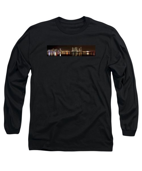 Miami - Skyline Panorama Long Sleeve T-Shirt by Brendan Reals