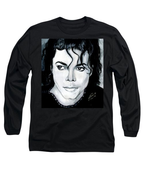 Michael Jackson Portrait Long Sleeve T-Shirt by Alban Dizdari