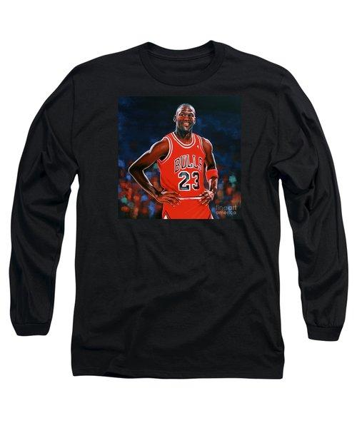 Michael Jordan Long Sleeve T-Shirt by Paul Meijering