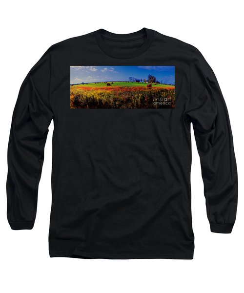 Long Sleeve T-Shirt featuring the photograph Michigan Uper  Farm Barn And Rolls Of Hay Brimly Michigan by Tom Jelen