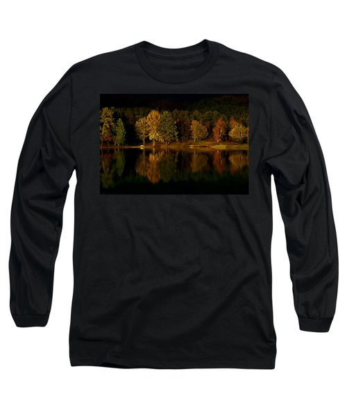 Midnight On The Lake Long Sleeve T-Shirt by Linda Unger