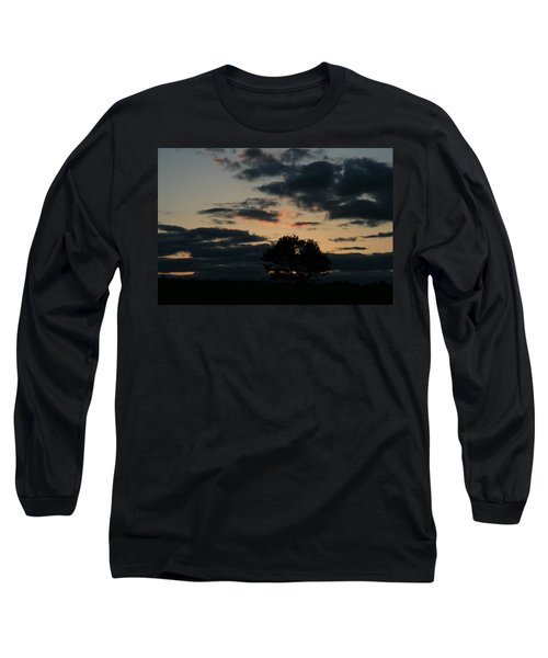 Farm Pasture Midnight Sun  Long Sleeve T-Shirt by Neal Eslinger