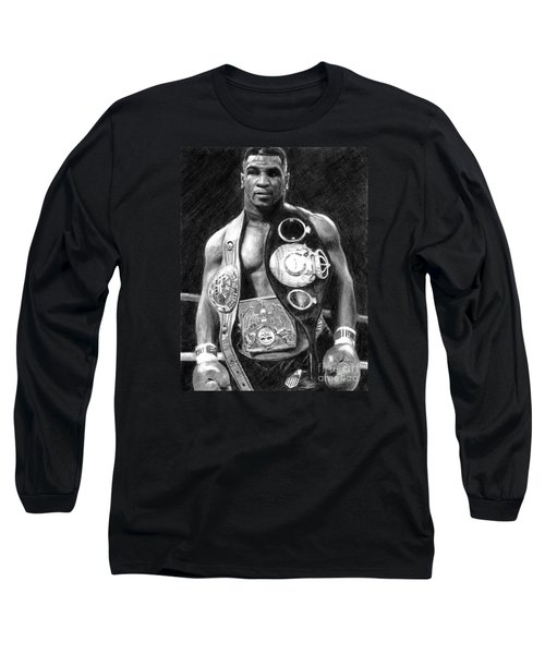 Mike Tyson Pencil Drawing Long Sleeve T-Shirt