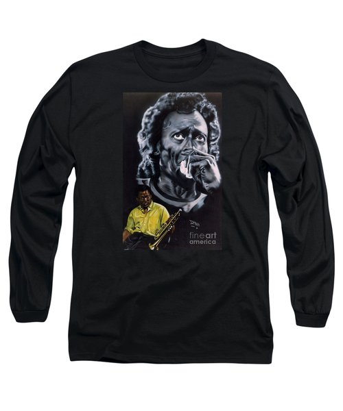 Long Sleeve T-Shirt featuring the painting More Miles Of Davis by Thomas J Herring