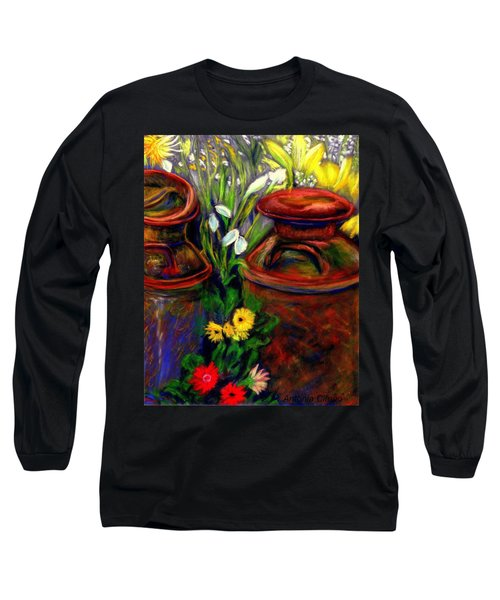 Milk Cans At Flower Show Sold Long Sleeve T-Shirt by Antonia Citrino