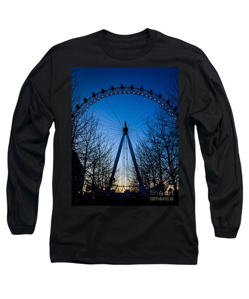 Long Sleeve T-Shirt featuring the photograph Millennium Eye London At Twilight by Peta Thames