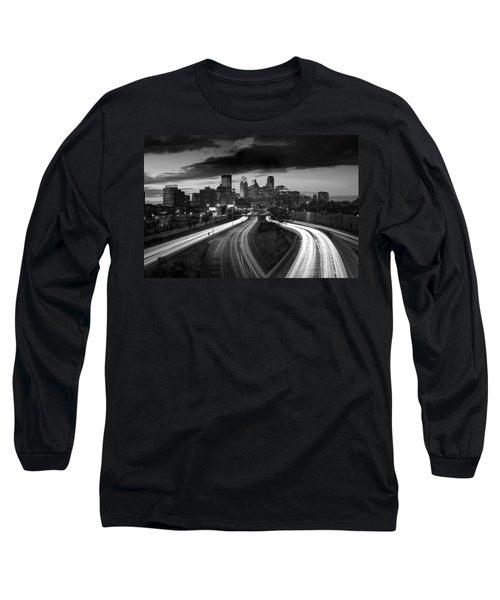 Minneapolis  M N Skyline B W Long Sleeve T-Shirt