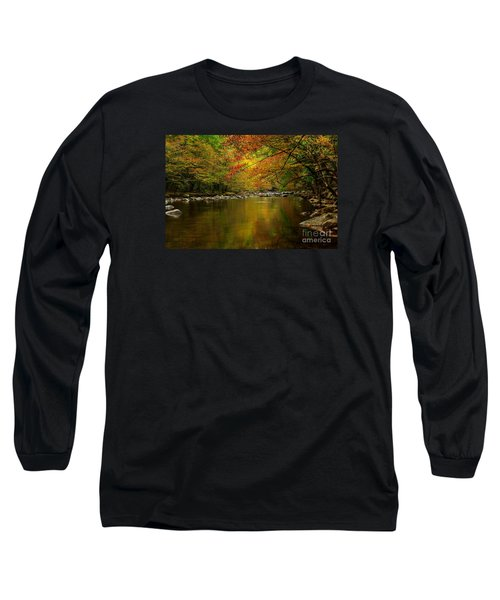 Long Sleeve T-Shirt featuring the photograph Mirror Fall Stream In The Mountains by Debbie Green