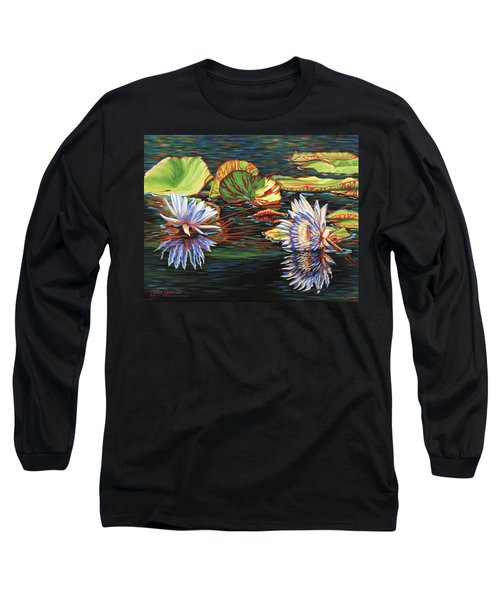 Mirrored Lilies Long Sleeve T-Shirt by Jane Girardot