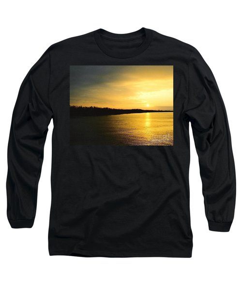 Long Sleeve T-Shirt featuring the photograph Sunrise Over The Mississippi River Post Hurricane Katrina Chalmette Louisiana Usa by Michael Hoard