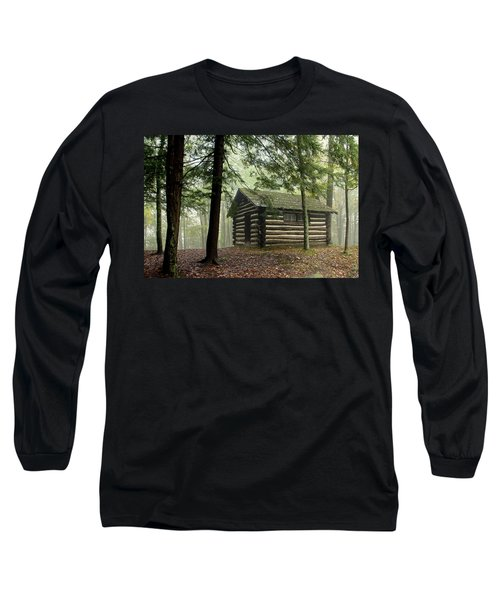 Long Sleeve T-Shirt featuring the photograph Misty Morning Cabin by Suzanne Stout