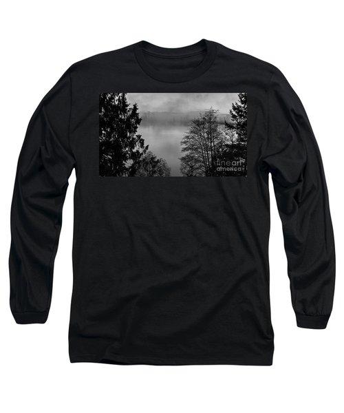 Misty Morning Sunrise Black And White Art Prints Long Sleeve T-Shirt