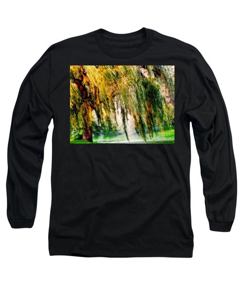 Misty Weeping Willow Tree Dreams Long Sleeve T-Shirt by Carol F Austin