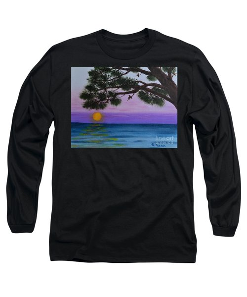 Long Sleeve T-Shirt featuring the painting Mobile Bay Sunset by Melvin Turner