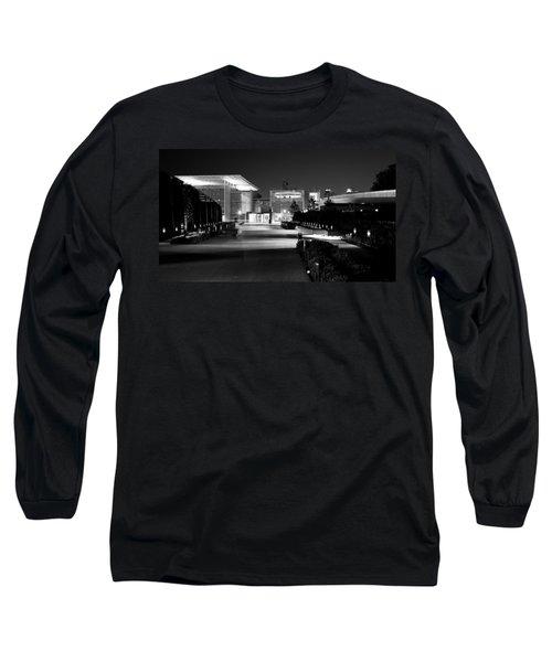 Modern Architecture Night Black White Long Sleeve T-Shirt
