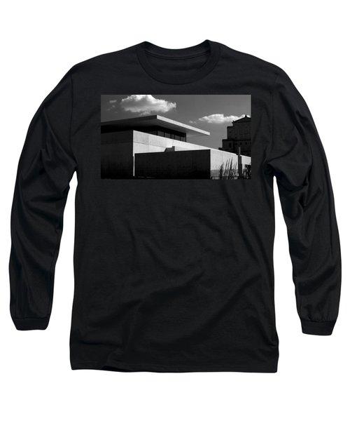 Modern Concrete Architecture Clouds Black White Long Sleeve T-Shirt
