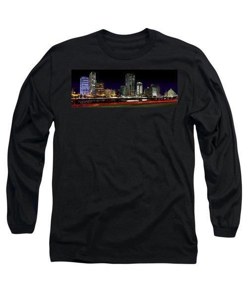 Modern Sao Paulo Skyline Near Brooklin District And Stayed Bridge Long Sleeve T-Shirt