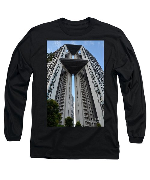 Long Sleeve T-Shirt featuring the photograph Modern Skyscraper Apartment Building Singapore by Imran Ahmed