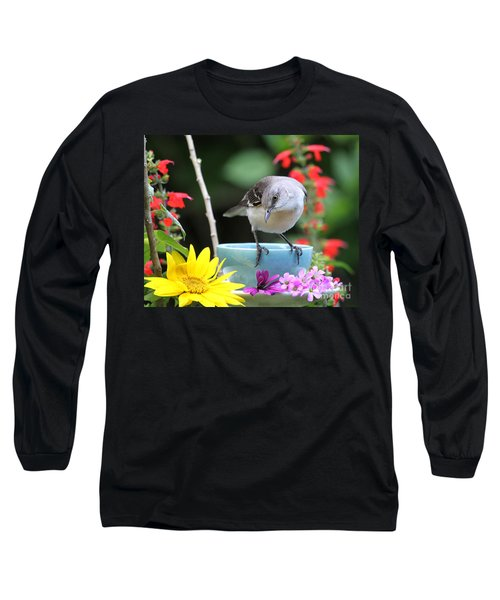 Long Sleeve T-Shirt featuring the photograph  Mockingbird And Teacup Photo by Luana K Perez