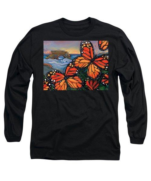 Monarch Butterflies At Natural Bridges Long Sleeve T-Shirt