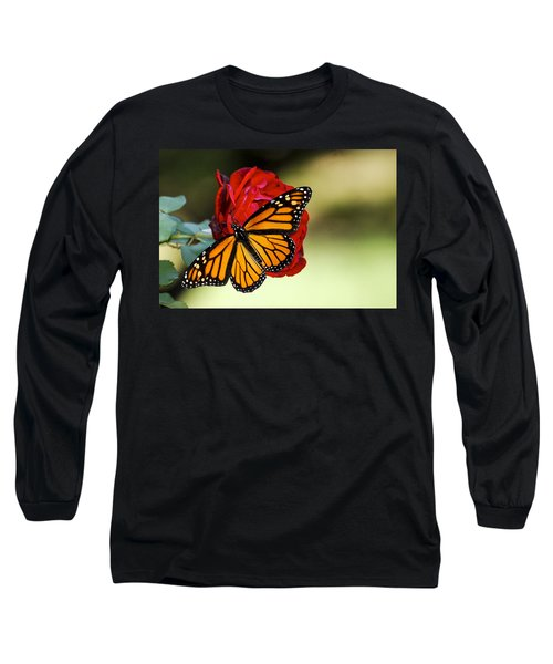 Monarch On Rose Long Sleeve T-Shirt by Debbie Karnes