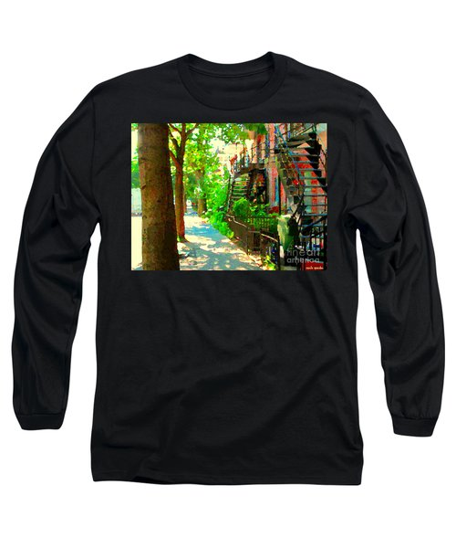 Montreal Art Colorful Winding Staircase Scenes Tree Lined Streets Of Verdun Art By Carole Spandau Long Sleeve T-Shirt by Carole Spandau