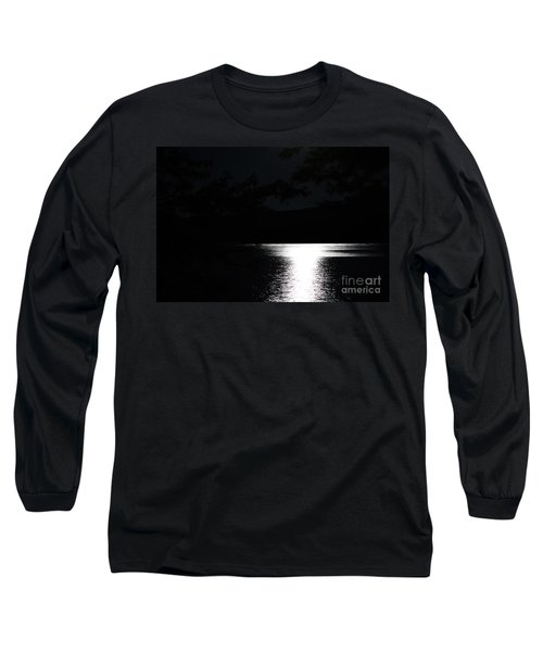 Long Sleeve T-Shirt featuring the photograph Moon On Waterton Lake by Ann E Robson
