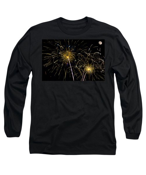Moon Over Golden Starburst- July Fourth - Fireworks Long Sleeve T-Shirt