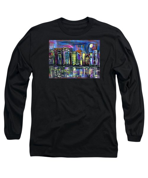 Moon Over Orlando Long Sleeve T-Shirt by Everett Spruill
