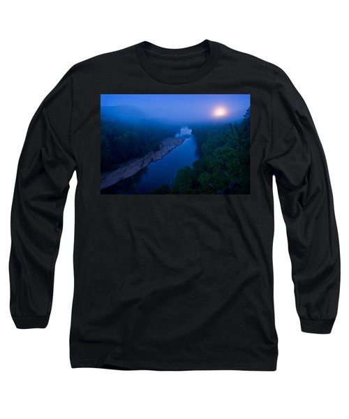 Moon Setting Over The Current River Long Sleeve T-Shirt