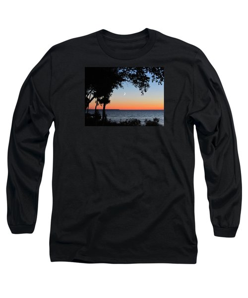Moon Sliver At Sunset Long Sleeve T-Shirt by David T Wilkinson
