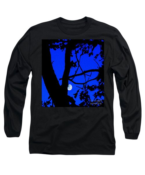 Long Sleeve T-Shirt featuring the photograph Moon Through Trees 2 by Janette Boyd