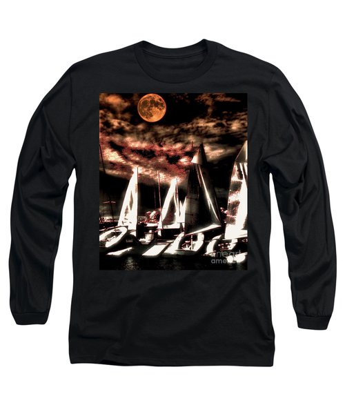 Long Sleeve T-Shirt featuring the tapestry - textile Moonlight Cruise by Robert McCubbin