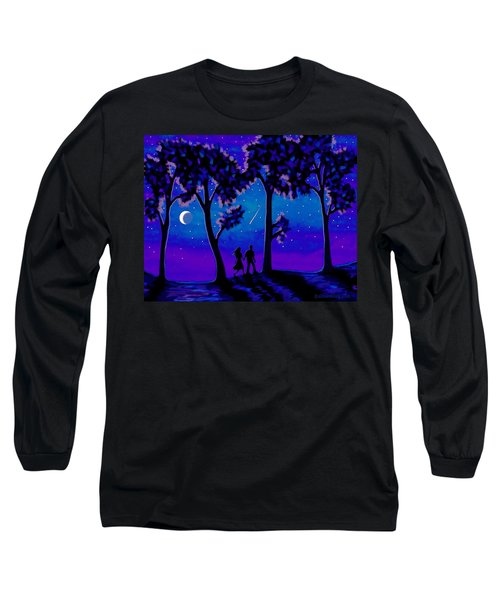 Long Sleeve T-Shirt featuring the painting Moonlight Walk by Sophia Schmierer