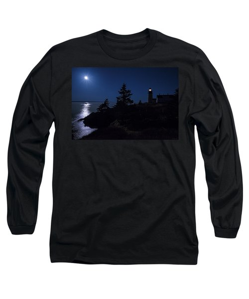 Long Sleeve T-Shirt featuring the photograph Moonlit Panorama West Quoddy Head Lighthouse by Marty Saccone