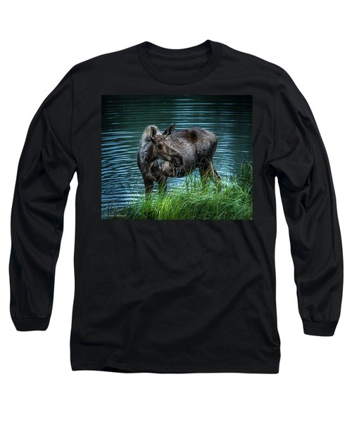 Moose In The Water Long Sleeve T-Shirt