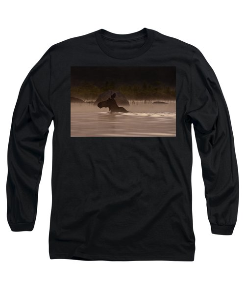 Moose Swim Long Sleeve T-Shirt by Brent L Ander