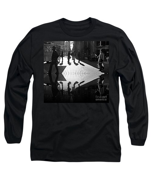 Long Sleeve T-Shirt featuring the photograph Morning Coffee Line On The Streets Of New York City by Lilliana Mendez
