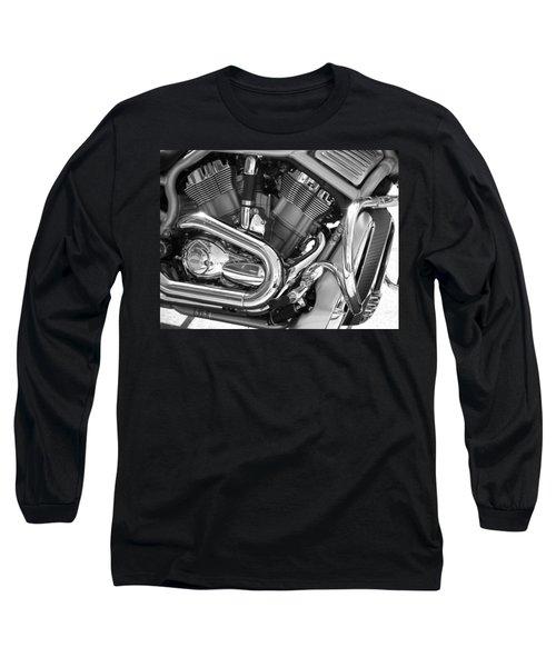 Motorcycle Close-up Bw 1 Long Sleeve T-Shirt