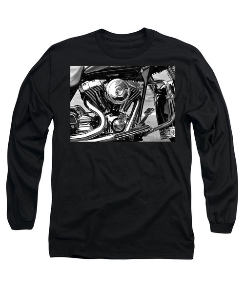 Motorcycle Engine Black And White Long Sleeve T-Shirt
