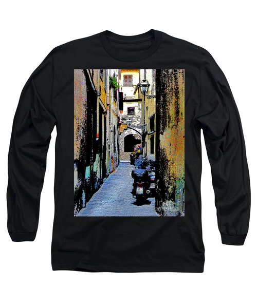 Long Sleeve T-Shirt featuring the digital art Motorcyle In Florence Alley by Jennie Breeze